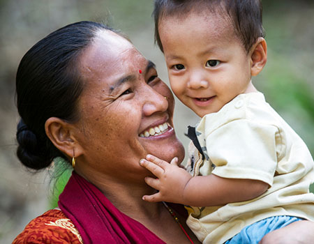 A mother and son in Nepal