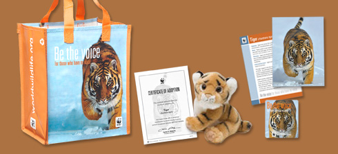 Receive this adorable tiger and matching tote when you symbolically adopt today